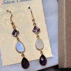 Sitara Collections Jewelry - Amethyst & Rainbow Moonstone Earrings